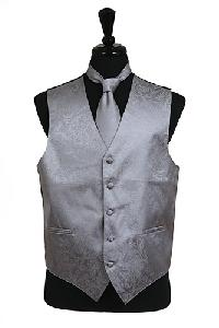 VS278 Paisley tone on tone Vest Tie Set Grey