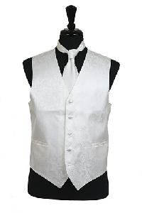VS278 Paisley tone on tone Vest Tie Set Ivory