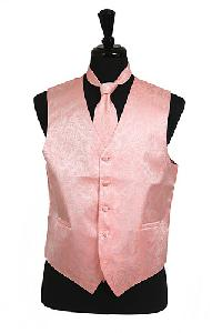 VS278 Paisley tone on tone Vest Tie Set Peach