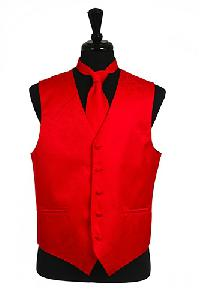 VS278 Paisley tone on tone Vest Tie Set Red
