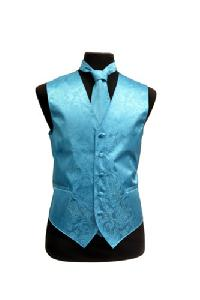 VS278 Paisley tone on tone Vest Tie Set Turquoise