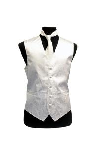 VS278 Paisley tone on tone Vest Tie Set White