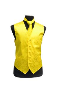 VS278 Paisley tone on tone Vest Tie Set Yellow