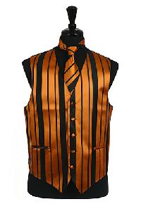 VS4010-Vest/Tie/Bowtie Sets (Black-Gold Combination)