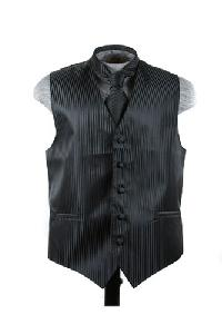 VS625 Vertical Tone on Tone Stripes Vest Tie Set Black