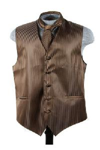 VS625 Vertical Tone on Tone Stripes Vest Tie Set Brown