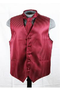 VS625 Vertical Tone on Tone Stripes Vest Tie Set Burgundy