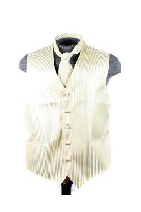 VS625 Vertical Tone on Tone Stripes Vest Tie Set Egg Yoke
