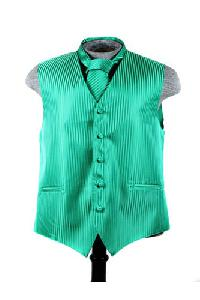 VS625 Vertical Tone on Tone Stripes Vest Tie Set Emerald