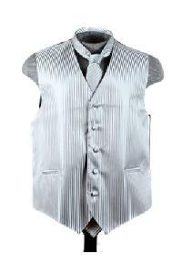 VS625 Vertical Tone on Tone Stripes Vest Tie Set Grey