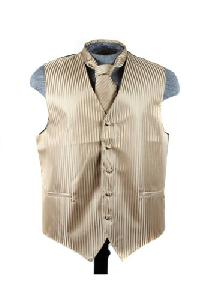 VS625 Vertical Tone on Tone Stripes Vest Tie Set Mocha