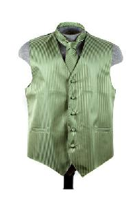 VS625 Vertical Tone on Tone Stripes Vest Tie Set Olive