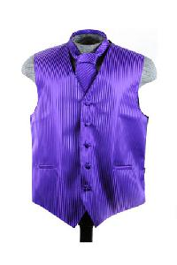 VS625 Vertical Tone on Tone Stripes Vest Tie Set Purple