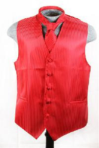 VS625 Vertical Tone on Tone Stripes Vest Tie Set Red