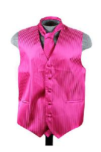 VS625 Vertical Tone on Tone Stripes Vest Tie Set Red Violet
