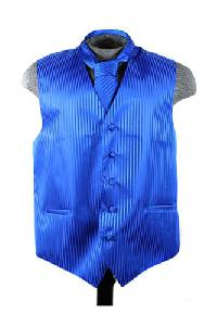 VS625 Vertical Tone on Tone Stripes Vest Tie Set Royal Blue