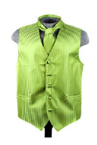 VS625 Vertical Tone on Tone Stripes Vest Tie Set Spinach Green