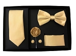 5pcs Gift Set Gold (Slim Tie, Bow, Hanky, Lapel & Cufflinks)