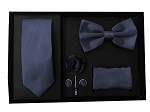 5pcs Gift Set Navy (Slim Tie, Bow, Hanky, Lapel & Cufflinks)