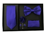 5pcs Gift Set Purple (Slim Tie, Bow, Hanky, Lapel & Cufflinks)