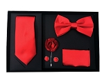 5pcs Gift Set Red (Slim Tie, Bow, Hanky, Lapel & Cufflinks)
