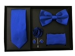 5pcs Gift Set Royal Blue (Slim Tie, Bow, Hanky, Lapel & Cufflinks)
