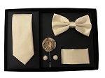 5pcs Gift Set Beige (Slim Tie, Bow, Hanky, Lapel & Cufflinks)