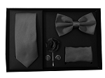 5pcs Gift Set Black (Slim Tie, Bow, Hanky, Lapel & Cufflinks)
