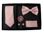5pcs Gift Set Dusty Pink (Slim Tie, Bow, Hanky, Lapel & Cufflinks)