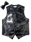 VS1500 Reversible Sequin Vest/bow tie set Black