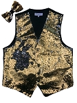 VS1500 Reversible Sequin Vest/bow tie set Gold