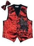 VS1500 Reversible Sequin Vest/bow tie set Red