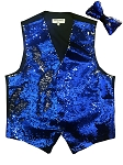 VS1500 Reversible Sequin Vest/bow tie set Royal Blue