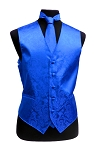 VS278 Paisley tone on tone Vest Tie Set Royal Blue
