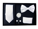 5pcs Gift Set White (Slim Tie, Bow, Hanky, Lapel & Cufflinks)