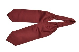 Polyester Solid Ascot(Cravat) Burgundy