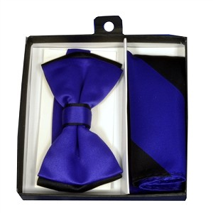 Polyester Satin Dual Colors Bowtie Black / Purple with Hanky (244319)