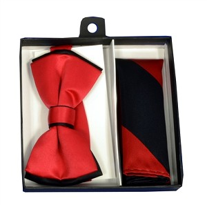 Polyester Satin Dual Colors Bowtie Black / Red with Hanky (244001)