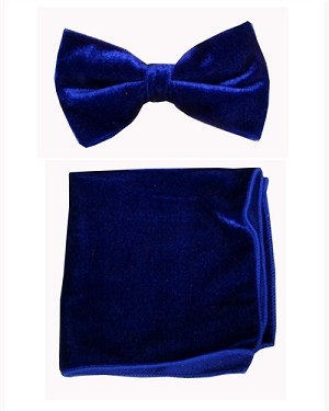 Velvet Bowtie with Hanky Royal Blue (245036)