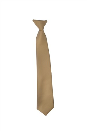 Polyester Boy's Clip on Neck Tie Solid Beige