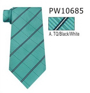 Polyester Regular Necktie Stripe with Handkerchief PW10685
