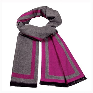 Cashmere feel Extra long scarf with double layered colors Scarf (Hot Pink / Grey)