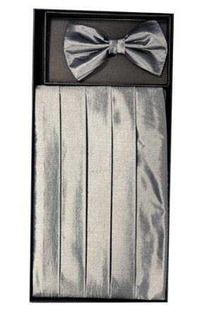 VS3910 Cummerbund and Bowtie Set (Silver)