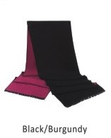 Scarf-Solid double layered colors 73 x 12 in Black / Burgundy