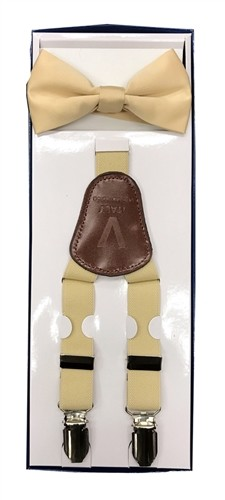 2Pcs Boy's Suspender Set Y-Back Beige (Suspender/Bow)