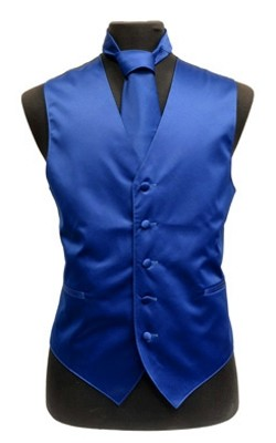 VS1010 Plain Satin Vest Tie, Bowtie, Hanky 4pcs set EXTRA BIG Royal Blue