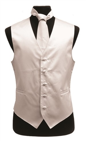 VS1010 Plain Satin Vest Tie, Bowtie, Hanky 4pcs set EXTRA BIG White