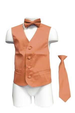 VS1010 Boy's Plain Satin Vest, Tie & Bowtie 3pcs Set Peach