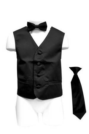 VS1010 Boy's Plain Satin Vest, Tie & Bowtie 3pcs Set Black