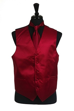 VS2010 Horizontal Rib Pattern Vest Tie Set Burgundy